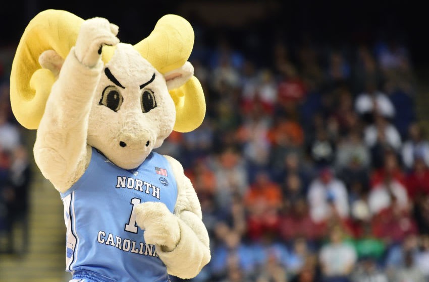 GREENSBORO, NORTH CAROLINA - MARCH 11: Rameses, the North Carolina Tar Heels mascot, cheers during their game against the Syracuse Orange in the second round of the 2020 Men's ACC Basketball Tournament at Greensboro Coliseum on March 11, 2020 in Greensboro, North Carolina. (Photo by Jared C. Tilton/Getty Images)