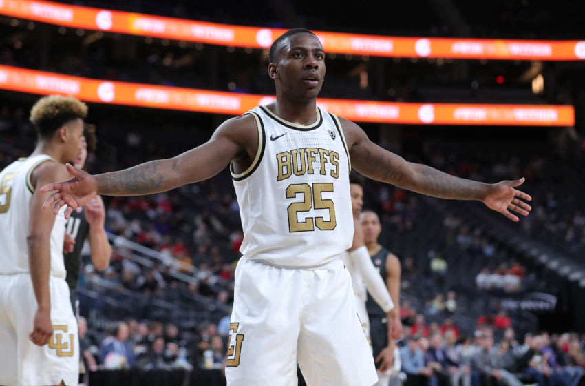 LAS VEGAS, NEVADA - MARCH 11: McKinley Wright IV #25 of the Colorado Buffaloes waiting for the inbound pass against the Washington State Cougars during the first round of the Pac-12 Conference basketball tournament at T-Mobile Arena on March 11, 2020 in Las Vegas, Nevada. (Photo by Leon Bennett/Getty Images)