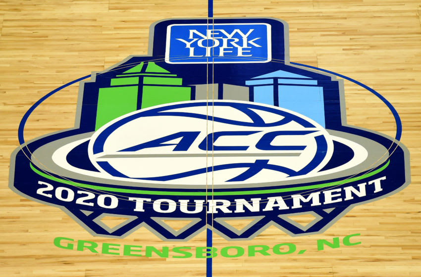 GREENSBORO, NORTH CAROLINA - MARCH 12: A general view of center court prior to the quarterfinals round of the 2020 Men's ACC Basketball Tournament at Greensboro Coliseum on March 12, 2020 in Greensboro, North Carolina. The remainder of the tournament will be played with only essential tournament personnel, limited school administrators and student-athlete guests, broadcast television and credentialed media members in attendance due to concerns over the possible spread of the Coronavirus (COVID-19). (Photo by Jared C. Tilton/Getty Images)