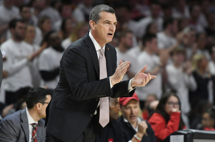 COLLEGE PARK, MD - MARCH 08: Head coach Mark Turgeon of the Maryland Terrapins cheers his players during a college basketball game against the Michigan Wolverines at the Xfinity Center on March 8, 2020 in College Park, Maryland. (Photo by Mitchell Layton/Getty Images)