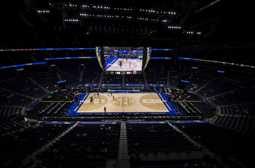NASHVILLE, TN - MARCH 10: General view during the second half of the game between the Vanderbilt Commodores and the Texas A&M Aggies at Bridgestone Arena on March 10, 2021 in Nashville, Tennessee. (Photo by Brett Carlsen/Getty Images)