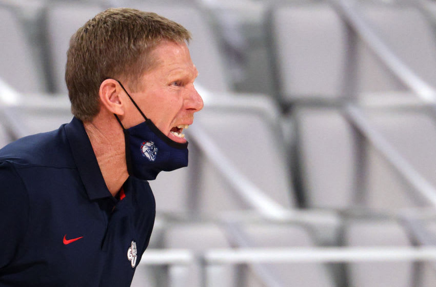 FORT WORTH, TEXAS - DECEMBER 26: Head coach Mark Few of the Gonzaga Bulldogs yells during play against the Virginia Cavaliers in the first half at Dickies Arena on December 26, 2020 in Fort Worth, Texas. (Photo by Ronald Martinez/Getty Images)
