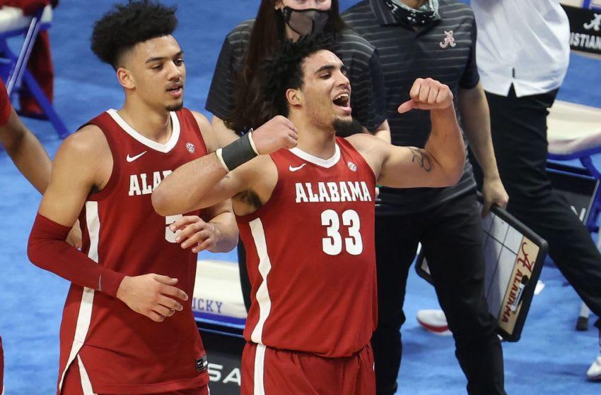 Alabama forward James Rojas and Alabama guard Jaden Shackelford (Photo by Andy Lyons/Getty Images)