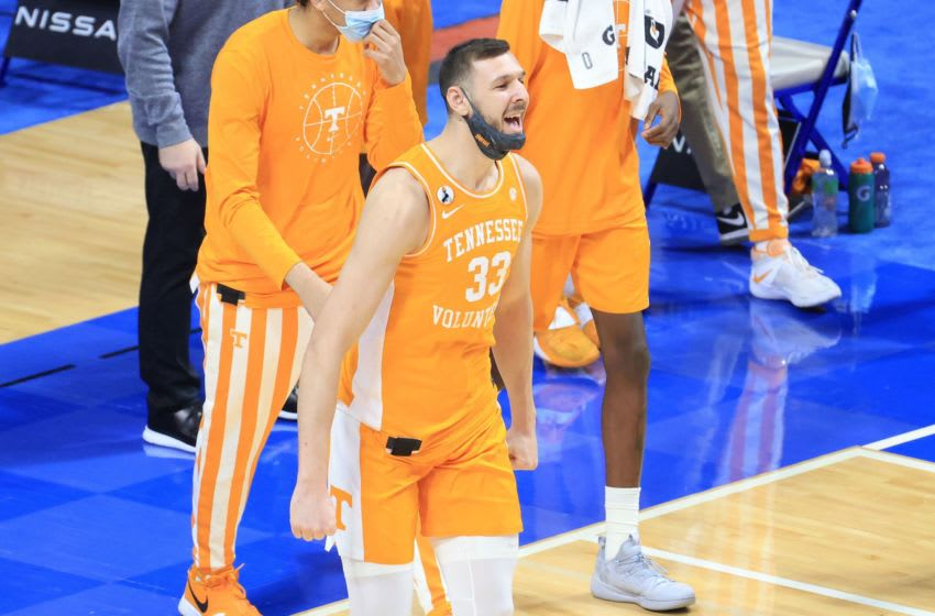 LEXINGTON, KENTUCKY - FEBRUARY 06: Uros Plavsic #33 of the Tennessee Volunteers celebrates after the 82-71 win over the Kentucky Wildcats at Rupp Arena on February 06, 2021 in Lexington, Kentucky. (Photo by Andy Lyons/Getty Images)