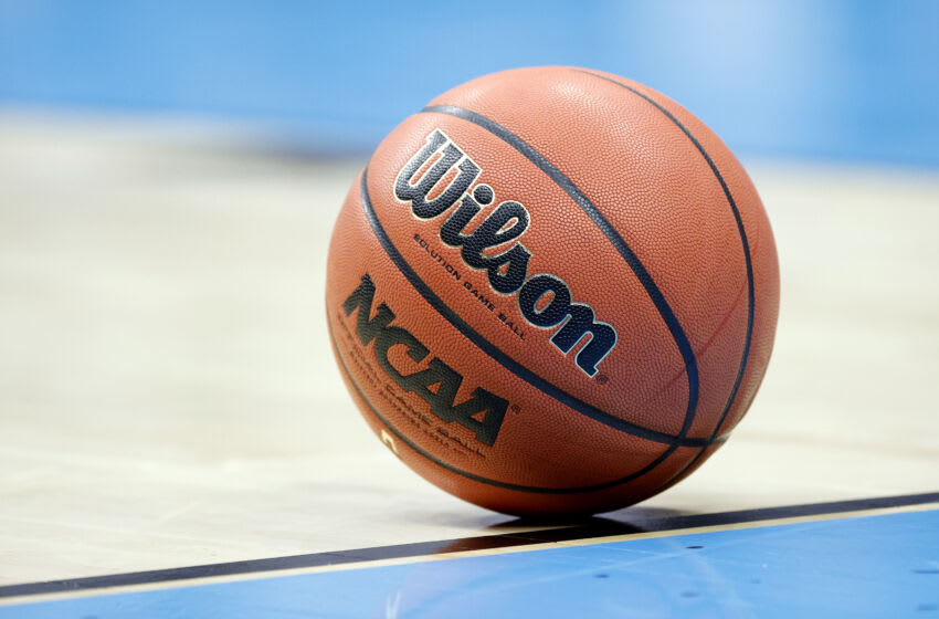 INDIANAPOLIS, INDIANA - APRIL 05: Detail view of a Wilson basketball during the National Championship game of the 2021 NCAA Men's Basketball Tournament between the Gonzaga Bulldogs and the Baylor Bears at Lucas Oil Stadium on April 05, 2021 in Indianapolis, Indiana. (Photo by Tim Nwachukwu/Getty Images)
