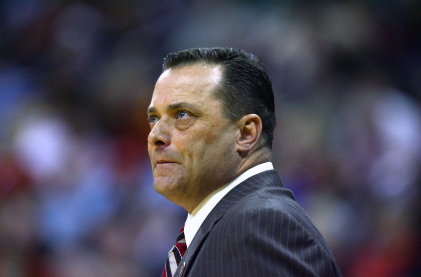 KANSAS CITY, MO - MARCH 07: Billy Gillispie head coach of the Texas Tech Red Raiders looks on during a game against the Oklahoma State Cowboys the first round of the Big 12 Basketball Tournament March 07, 2011 at Sprint Center in Kansas City, Missouri. (Photo by Ed Zurga/Getty Images)