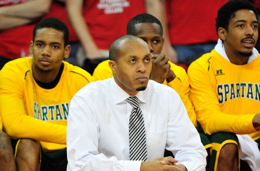 RALEIGH, NC - DECEMBER 15: Coach Anthony Evans of the Norfolk State Spartans watches his team play against the North Carolina State Wolfpack at PNC Arena on December 15, 2012 in Raleigh, North Carolina. North Carolina State won 84-62. (Photo by Grant Halverson/Getty Images)