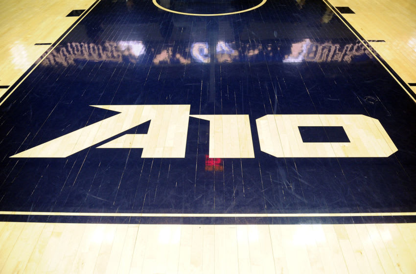 WASHINGTON, DC - JANUARY 15: The Atlantic 10 logo on the court before the game between the George Washington Colonials and the Richmond Spiders at the Charles E. Smith Athletic Center on January 15, 2015 in Washington, DC. (Photo by G Fiume/Getty Images)