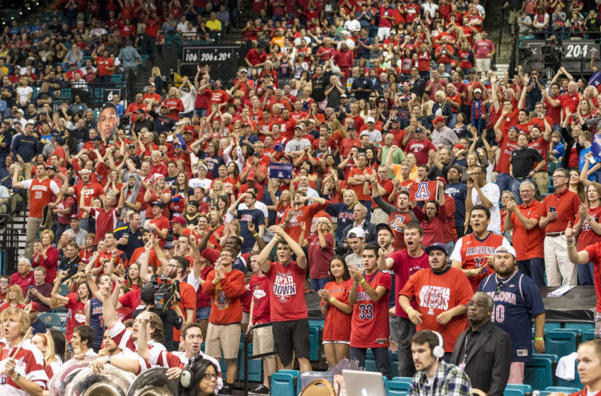 LAS VEGAS, NV - MARCH 12: The Arizona Wildcat fans cheer after a win against the California Golden Bears during a quarterfinal game of the Pac-12 Basketball Tournament at the MGM Grand Garden Arena on March 12, 2015 in Las Vegas, Nevada. (Photo by Paul Dye/J and L Photography/Getty Images )