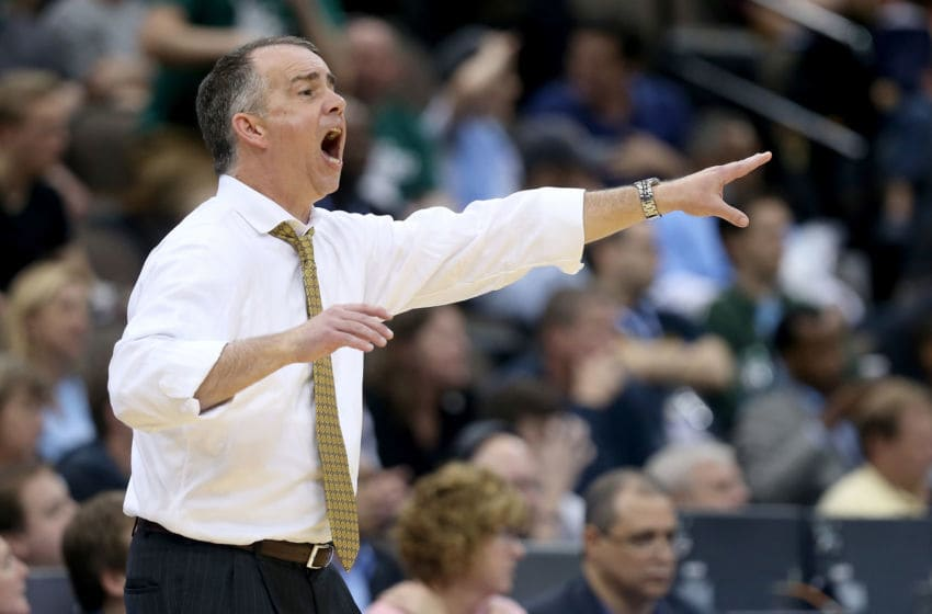 JACKSONVILLE, FL - MARCH 19: Head coach Mike Young of the Wofford Terriers yells to his team against the Arkansas Razorbacks during the second round of the 2015 NCAA Men's Basketball Tournament at Jacksonville Veterans Memorial Arena on March 19, 2015 in Jacksonville, Florida. (Photo by Mike Ehrmann/Getty Images)