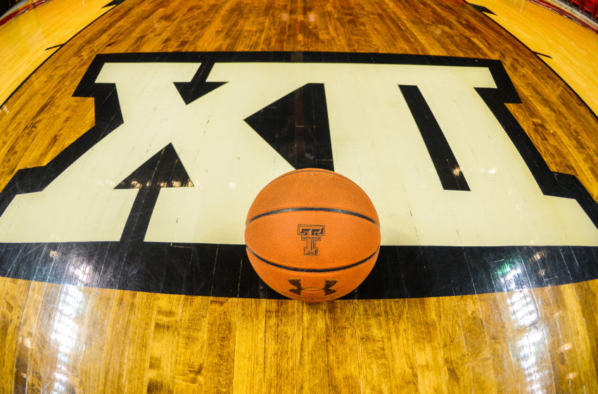 LUBBOCK, TX - JANUARY 02: General view of a basketball and Big 12 logo taken before the game between the Texas Tech Red Raiders and the Texas Longhorns on January 02, 2016 at United Supermarkets Arena in Lubbock, Texas. Texas Tech won the game 82-74. (Photo by John Weast/Getty Images)
