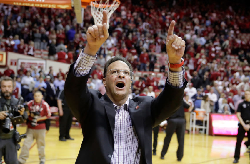 BLOOMINGTON, IN - NOVEMBER 30: Tom Crean the head coach of the Indiana Hoosiers points up to the student section following the 76-67 win over the North Carolina Tar Heels at Assembly Hall on November 30, 2016 in Bloomington, Indiana. (Photo by Andy Lyons/Getty Images)