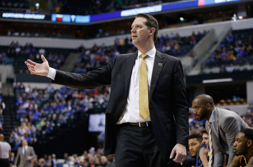 INDIANAPOLIS, IN - MARCH 17: Head coach John Brannen of the Northern Kentucky Norse reacts during the game against the Kentucky Wildcats in the first round of the 2017 NCAA Men's Basketball Tournament at Bankers Life Fieldhouse on March 17, 2017 in Indianapolis, Indiana. (Photo by Joe Robbins/Getty Images)