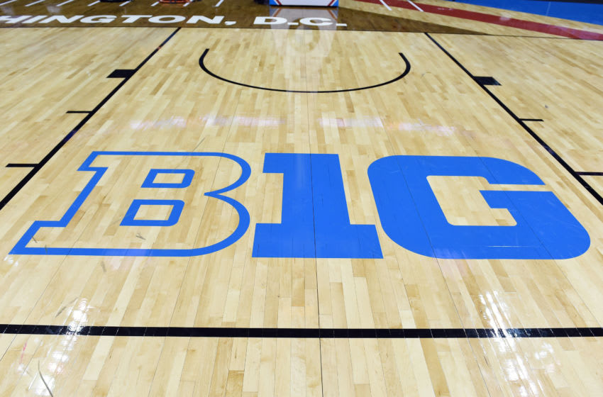 WASHINGTON, DC - MARCH 12: Big Ten logo on the floor before the Big Ten Men's Basketball Final against the Wisconsin Badgers and Michigan Wolverines at the Verizon Center on March 12, 2017 in Washington, DC. The Wolverines won 71-56. (Photo by Mitchell Layton/Getty Images) *** Local Caption ***
