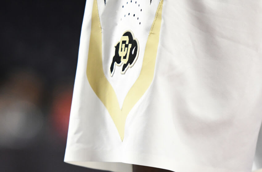 LYNCHBURG, VA - NOVEMBER 17: The Colorado Buffaloes logo on pair of shorts during the quarterfinals of the Paradise Jam college basketball tournament against the Quinnipiac Bobcats at The Vines Center on November 17, 2017 in Lynchburg, Virginia. The Buffaloes won 70-69. (Photo by Mitchell Layton/Getty Images) *** Local Caption ***