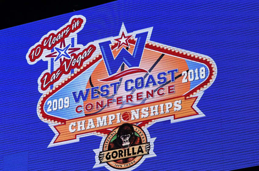 LAS VEGAS, NV - MARCH 05: A logo for the West Coast Conference basketball tournament is shown on a screen during a semifinal game between the Brigham Young Cougars and the Saint Mary's Gaels at the Orleans Arena on March 5, 2018 in Las Vegas, Nevada. The Cougars won 85-72. (Photo by Ethan Miller/Getty Images)