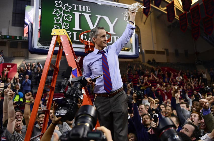 PHILADELPHIA, PA - MARCH 11: Head coach Steve Donahue of the Pennsylvania Quakers shows the net to the crowd after the win at The Palestra on March 11, 2018 in Philadelphia, Pennsylvania. Penn defeated Harvard 68-65 for the Men's Ivy League Tournament Championship title. (Photo by Corey Perrine/Getty Images)