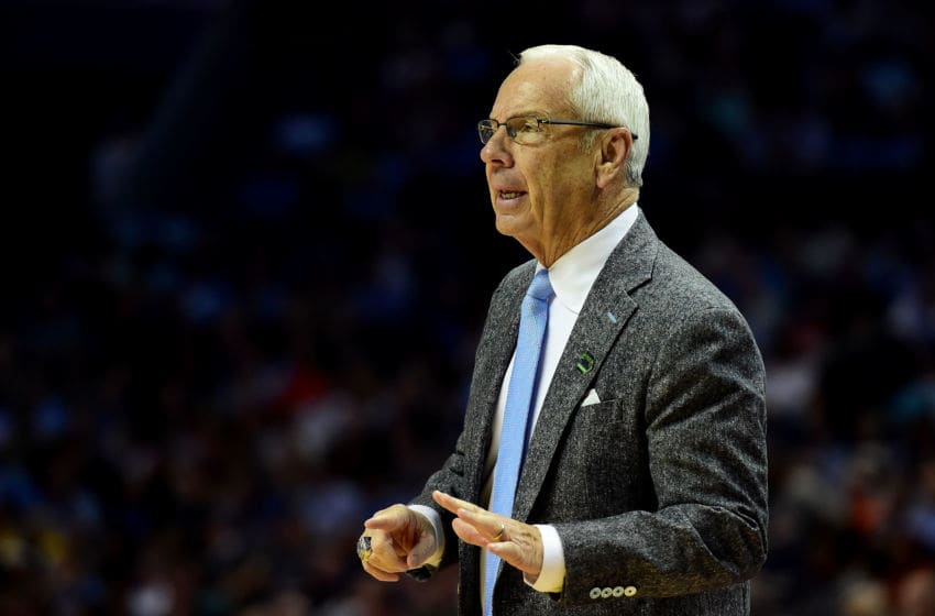 CHARLOTTE, NC - MARCH 18: Head coach Roy Williams of the North Carolina Tar Heels reacts from the sideline against the Texas A&M Aggies during the second round of the 2018 NCAA Men's Basketball Tournament at Spectrum Center on March 18, 2018 in Charlotte, North Carolina. (Photo by Jared C. Tilton/Getty Images)