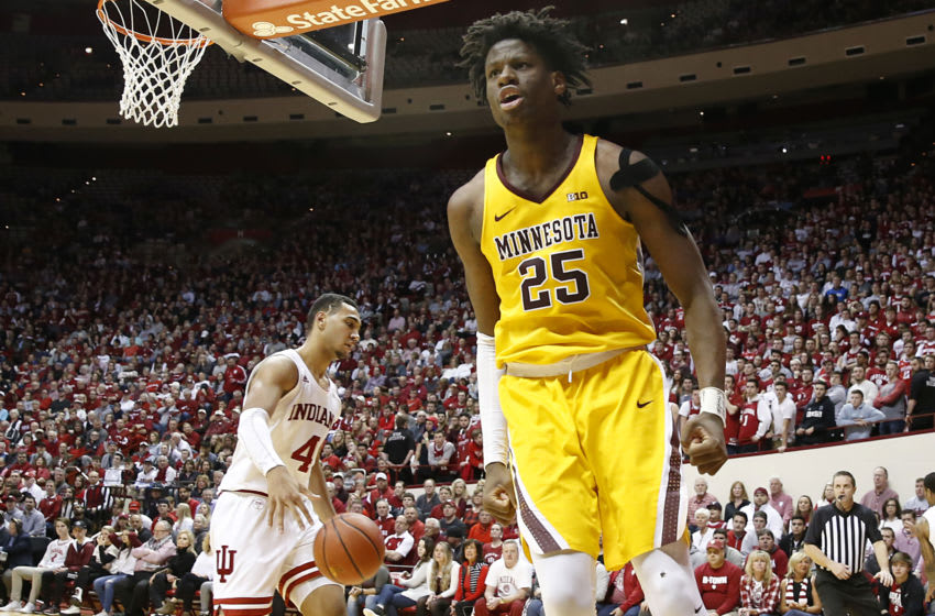 BLOOMINGTON, INDIANA - MARCH 04: Daniel Oturu #25 of the Minnesota Golden Gophers celebrates after a dunk in the game against the Indiana Hoosiers during the second half at Assembly Hall on March 04, 2020 in Bloomington, Indiana. (Photo by Justin Casterline/Getty Images)