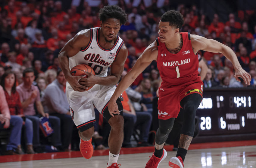 CHAMPAIGN, IL - FEBRUARY 07: Andres Feliz #10 of the Illinois Fighting Illini drives to the basket against Anthony Cowan Jr. #1 of the Maryland Terrapins at State Farm Center on February 7, 2020 in Champaign, Illinois. (Photo by Michael Hickey/Getty Images)