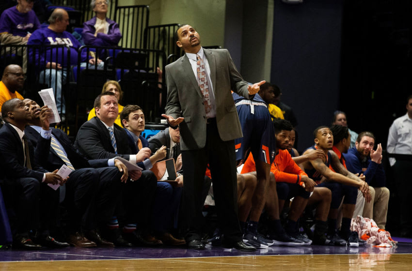Nov 29, 2017; Baton Rouge, LA, USA; Tennessee-Martin Skyhawks head coach Anthony Stewart looks at the scoreboard against the LSU Tigers during the first half at Pete Maravich Assembly Center. Mandatory Credit: Stephen Lew-USA TODAY Sports