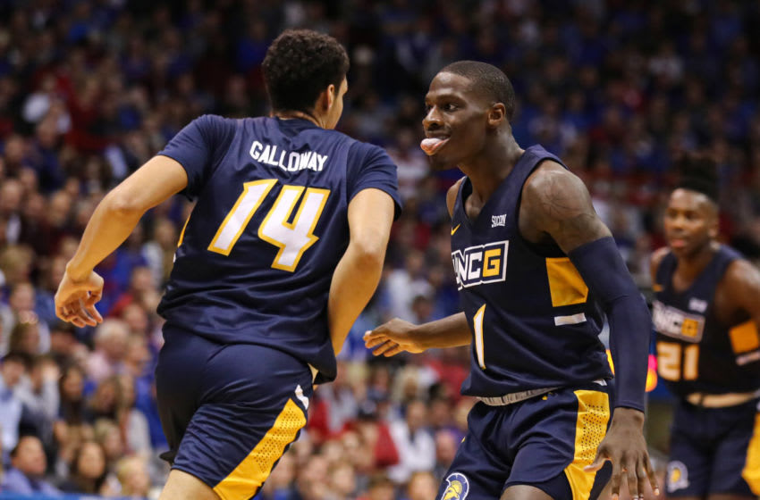 Nov 8, 2019; Lawrence, KS, USA; UNC Greensboro Spartans guard Isaiah Miller (1) reacts after a play agains the Kansas Jayhawks during the first half at Allen Fieldhouse. Mandatory Credit: Jay Biggerstaff-USA TODAY Sports