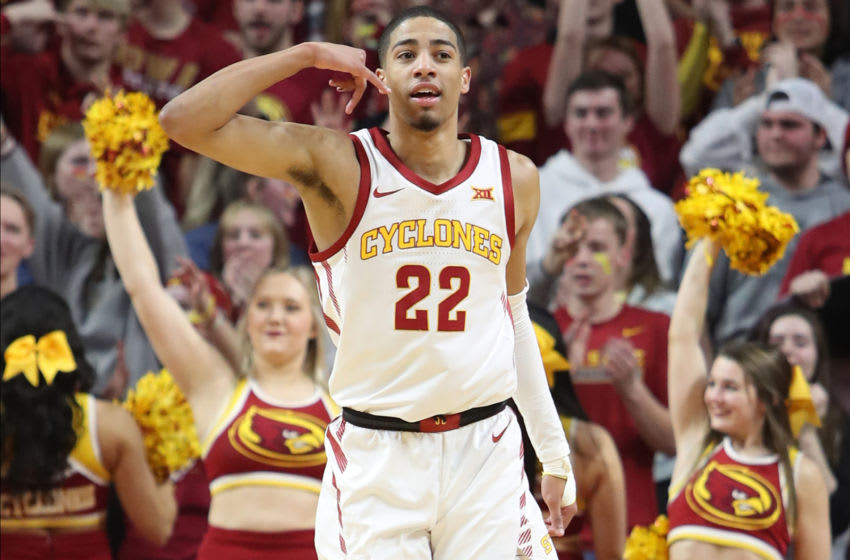 Jan 21, 2020; Ames, Iowa, USA; Iowa State Cyclones guard Tyrese Haliburton (22) celebrates after making a three point basket against the Oklahoma State Cowboys at Hilton Coliseum. Mandatory Credit: Reese Strickland-USA TODAY Sports