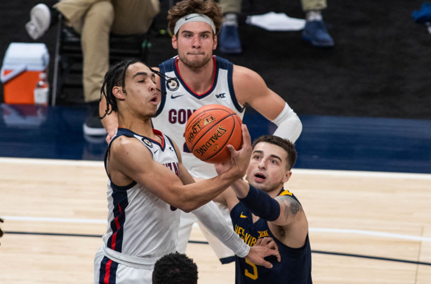 Dec 2, 2020; Indianapolis, IN, USA; Gonzaga Bulldogs guard Andrew Nembhard (3) rebounds against the West Virginia Mountaineers in the first half at Bankers Life Fieldhouse. Mandatory Credit: Trevor Ruszkowski-USA TODAY Sports