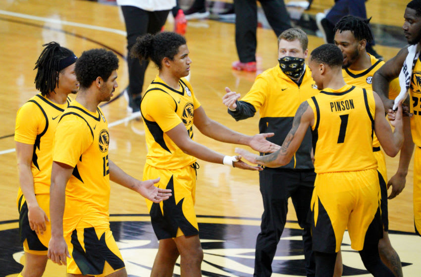 Feb 6, 2021; Columbia, Missouri, USA; Missouri Tigers players celebrate after the win over the Alabama Crimson Tide at Mizzou Arena. Mandatory Credit: Denny Medley-USA TODAY Sports