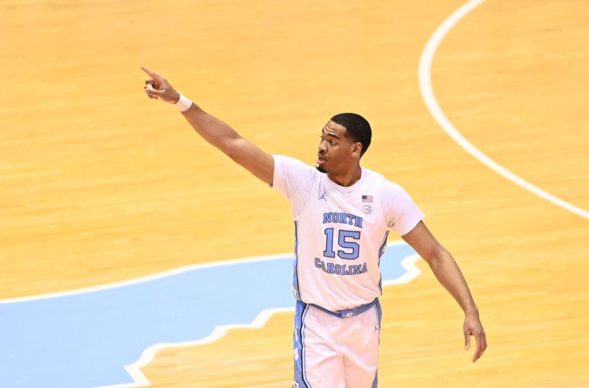 Mar 6, 2021; Chapel Hill, North Carolina, USA; North Carolina Tar Heels senior forward Garrison Brooks (15) on the court in the first half at Dean E. Smith Center. Mandatory Credit: Bob Donnan-USA TODAY Sports