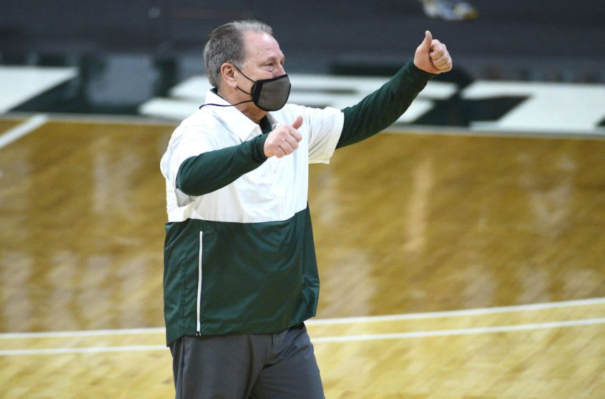 Mar 7, 2021; East Lansing, Michigan, USA; Michigan State Spartans head coach Tom Izzo celebrates after the game against the Michigan Wolverines at Jack Breslin Student Events Center. Mandatory Credit: Tim Fuller-USA TODAY Sports