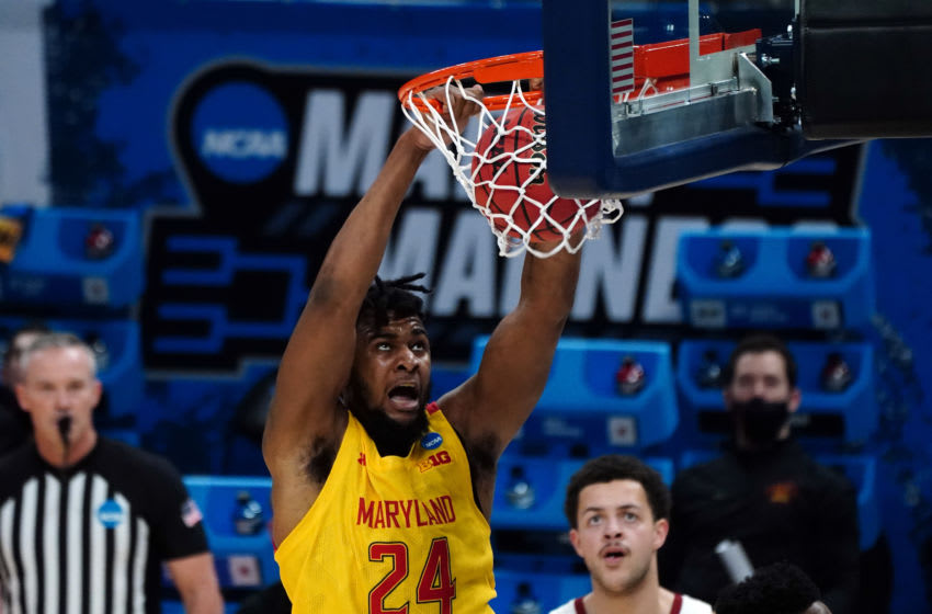 Mar 22, 2021; Indianapolis, Indiana, USA; Maryland Terrapins forward Donta Scott (24) dunks against the Alabama Crimson Tide in the second half in the second round of the 2021 NCAA Tournament at Bankers Life Fieldhouse. Mandatory Credit: Kirby Lee-USA TODAY Sports