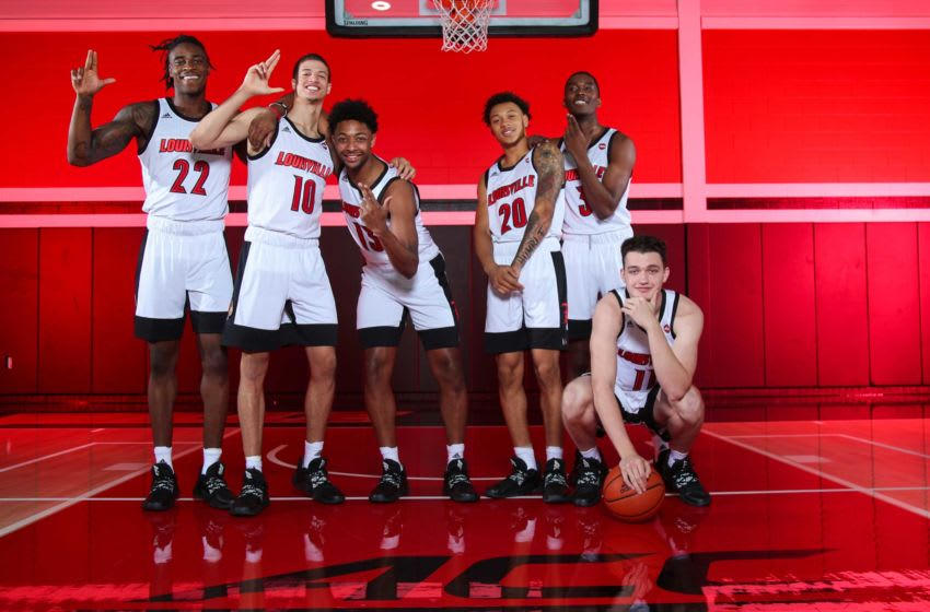 Louisville's six freshman: Aidan Igiehon, Samuell Williamson, David Johnson, Josh Nickelberry, Quinn Slazinski and Jae'Lyn Withers. Louisville Basketball 2019 20