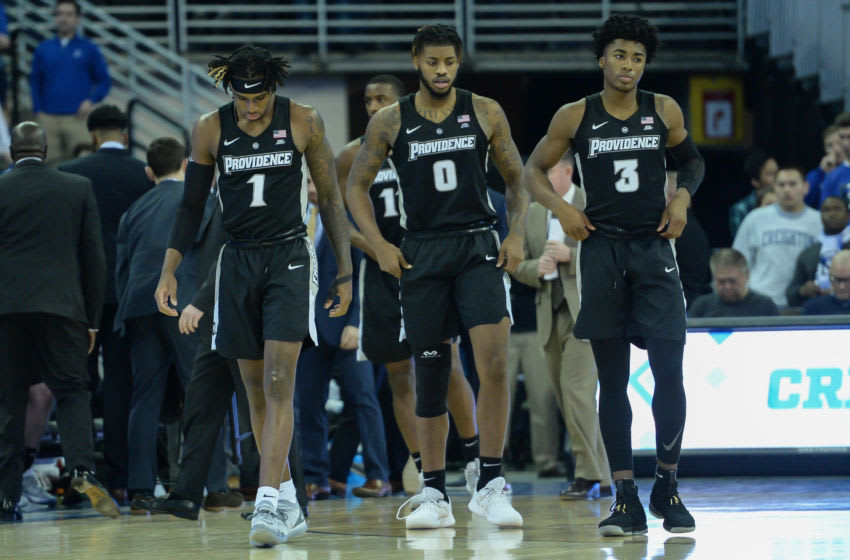 Jan 18, 2020; Omaha, Nebraska, USA; Providence Friars forward Greg Gantt (1) and center Nate Watson (0) and guard David Duke (3) take the court against the Creighton Bluejays in the first half at CHI Health Center Omaha. Mandatory Credit: Steven Branscombe-USA TODAY Sports