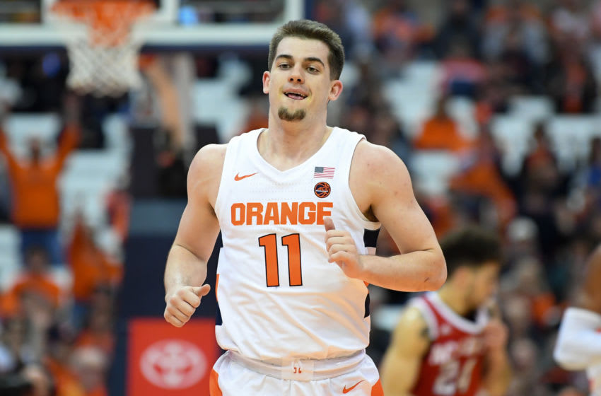 Feb 11, 2020; Syracuse, New York, USA; Syracuse Orange guard Joe Girard III (11) in action during the first half against the North Carolina State Wolfpack at the Carrier Dome. Mandatory Credit: Rich Barnes-USA TODAY Sports