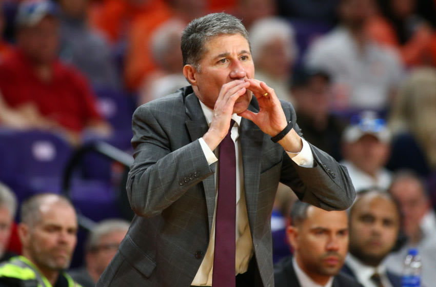 Feb 15, 2020; Clemson, South Carolina, USA; Louisville Cardinals assistant coach Dino Gaudio yells instructions during the game against the Clemson Tigers at Littlejohn Coliseum. Mandatory Credit: Jeremy Brevard-USA TODAY Sports