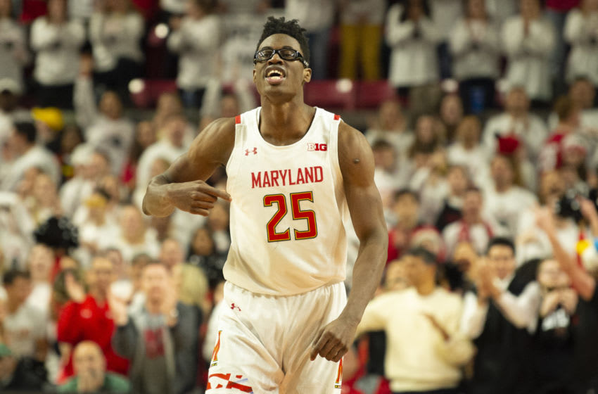 Feb 29, 2020; College Park, Maryland, USA; Maryland Terrapins forward Jalen Smith (25) reacts after scoring during the second half against the Michigan State Spartans at XFINITY Center. Mandatory Credit: Tommy Gilligan-USA TODAY Sports