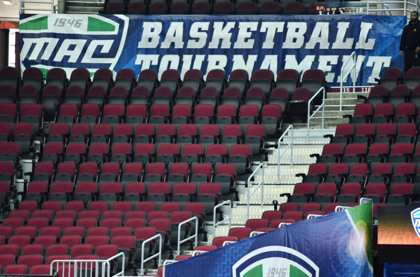 Mar 12, 2020; Cleveland, Ohio, USA; Empty seats at Rocket Mortgage FieldHouse before the game between the Akron Zips and the Ohio Bobcats. The game and the Mid-American Conference basketball tournament was cancelled in an attempt to prevent the spread of the Covid-19 coronavirus. Mandatory Credit: Ken Blaze-USA TODAY Sports