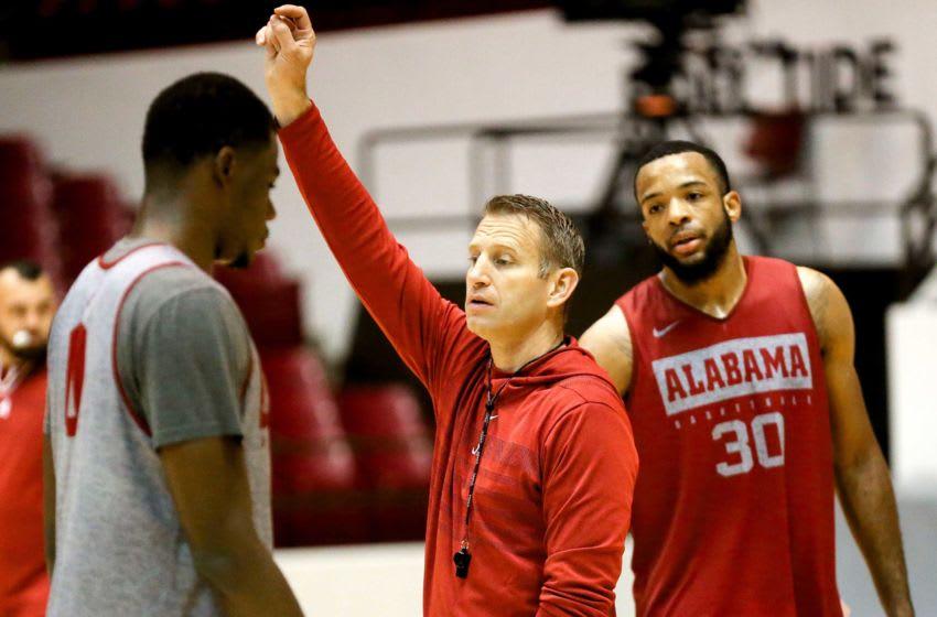 Alabama Head Coach Nate Oats instructs Alabama center Javian Davis (0) and forward Galin Smith (30)practice for the Alabama men's basketball team Wednesday, Oct. 16, 2019. [Staff Photo/Gary Cosby Jr.] Alabama Men S Basketball Practice