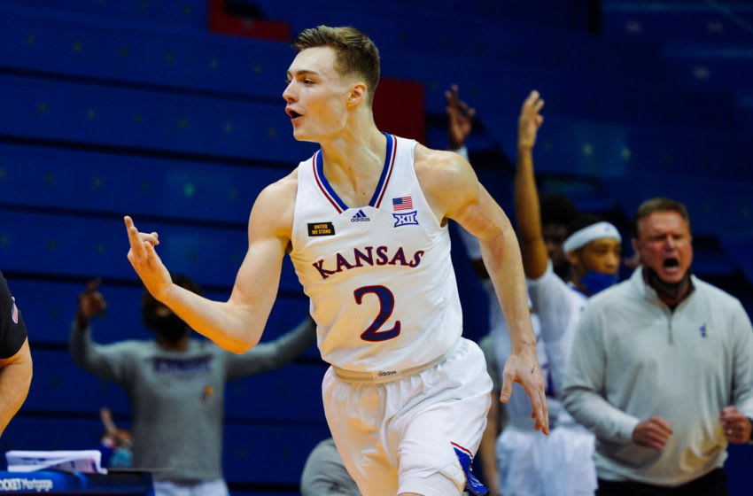 Dec 8, 2020; Lawrence, Kansas, USA; Kansas Jayhawks guard Christian Braun (2) celebrates after scoring against the Creighton Bluejays during the second half at Allen Fieldhouse. Mandatory Credit: Jay Biggerstaff-USA TODAY Sports