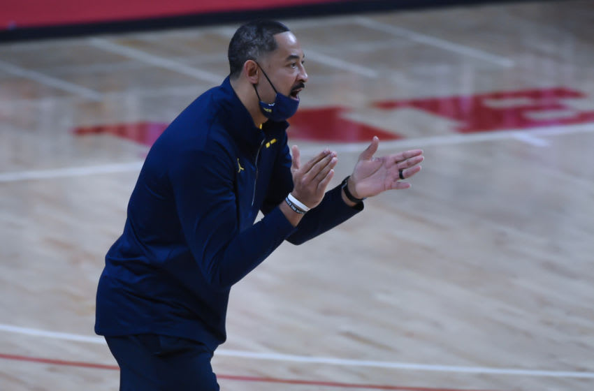 Dec 25, 2020; Lincoln, Nebraska, USA; Michigan Wolverines head coach Juwan Howard works the sidelines against the Nebraska Cornhuskers in the second half at Pinnacle Bank Arena. Mandatory Credit: Steven Branscombe-USA TODAY Sports