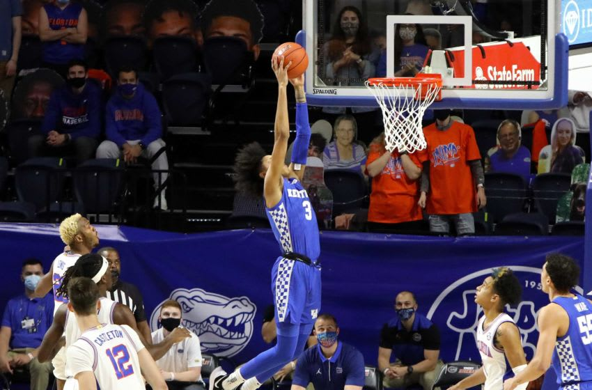 Kentucky guard Brandon Boston Jr. (3) soars in for a slam dunk during an SEC basketball game against Florida held at Exactech Arena in Gainesville Fla. Jan. 9, 2021. FloridaVs.Kentucky 03