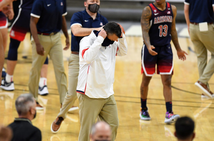 Feb 6, 2021; Boulder, Colorado, USA; Arizona Wildcats head coach Sean Miller leaves the court after a loss to the Colorado Buffaloes at CU Events Center. Mandatory Credit: Ron Chenoy-USA TODAY Sports
