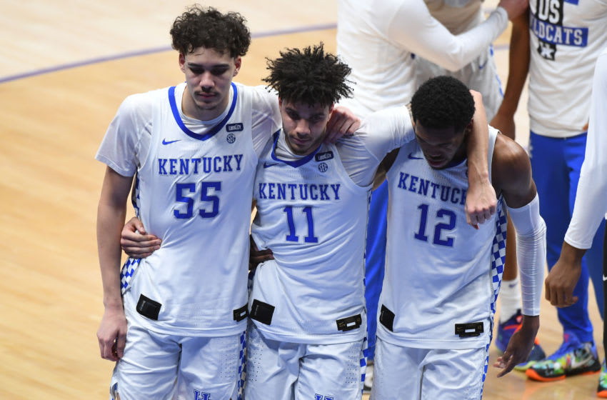 Mar 11, 2021; Nashville, TN, USA; Kentucky Wildcats forward Lance Ware (55) , Kentucky Wildcats guard Dontaie Allen (11) and Kentucky Wildcats forward Keion Brooks Jr. (12) react after a loss to Mississippi State Bulldogs at Bridgestone Arena. Mandatory Credit: Christopher Hanewinckel-USA TODAY Sports