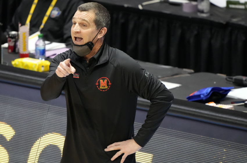 Mar 20, 2021; West Lafayette, Indiana, USA; Maryland Terrapins head coach Mark Turgeon reacts during the second half against the Connecticut Huskies in the first round of the 2021 NCAA Tournament at Mackey Arena. Mandatory Credit: Mike Dinovo-USA TODAY Sports