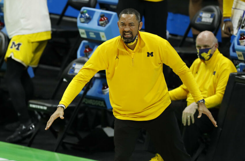 Mar 22, 2021; Indianapolis, Indiana, USA; Michigan Wolverines head coach Juwan Howard reacts from the sidelines during the second half in the second round of the 2021 NCAA Tournament against the Louisiana State Tigers at Lucas Oil Stadium. Mandatory Credit: Joshua Bickel-USA TODAY Sports