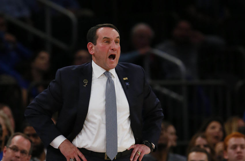 Dec 6, 2016; New York, NY, USA; Duke Blue Devils head coach Mike Krzyzewski talks to players during second half against Florida Gators at Madison Square Garden. The Duke Blue Devils defeated the Florida Gators 84-74. Mandatory Credit: Noah K. Murray-USA TODAY Sports