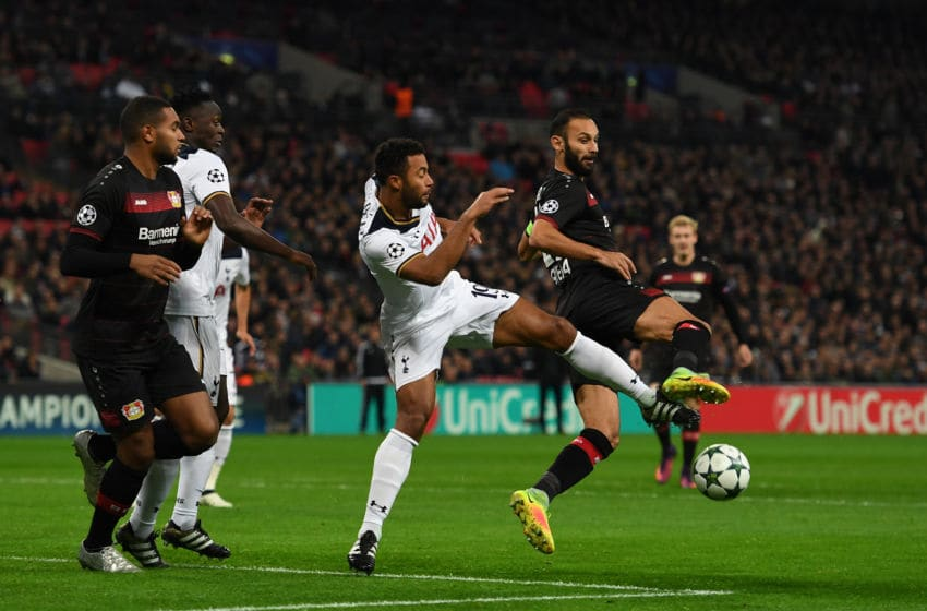 LONDON, ENGLAND - NOVEMBER 02: Mousa Dembele of Tottenham Hotspur makes a tackle on Omer Toprak of Bayer Leverkusen during the UEFA Champions League Group E match between Tottenham Hotspur FC and Bayer 04 Leverkusen at Wembley Stadium on November 2, 2016 in London, England. (Photo by Shaun Botterill/Getty Images)
