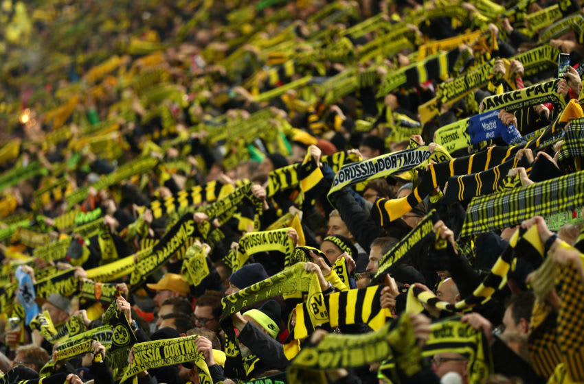 DORTMUND, GERMANY - DECEMBER 21: Borussia Dortmund fans show their support during the Bundesliga match between Borussia Dortmund and Borussia Moenchengladbach at Signal Iduna Park on December 21, 2018 in Dortmund, Germany. (Photo by Lars Baron/Bongarts/Getty Images)