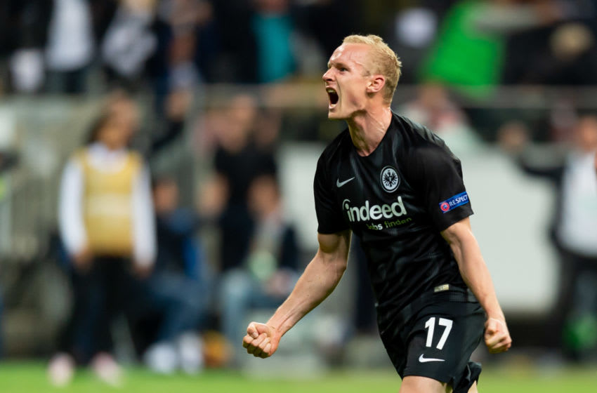 FRANKFURT AM MAIN, GERMANY - APRIL 18: Sebastian Rode of Eintracht Frankfurt celebrates after scoring his team's second goal during the UEFA Europa League Quarter Final Second Leg match between Eintracht Frankfurt and Benfica Lissabon at Commerzbank-Arena on April 18, 2019 in Frankfurt am Main, Germany. (Photo by TF-Images/Getty Images)